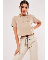 Missguided Natural Sand California Crop Top