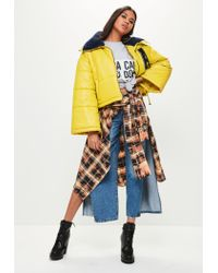 Missguided | Yellow Super Cropped Padded Jacket | Lyst