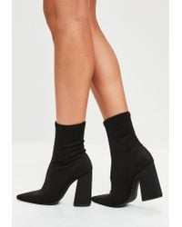 Missguided Black Flared Heel Sock Boots