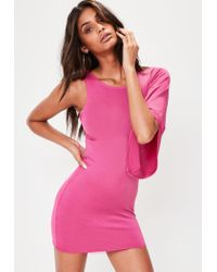 Missguided Pink Slinky One Shoulder Batwing Mini Dress