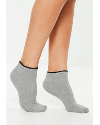 Missguided Gray Mixed Colours 3 Pack Trainer Socks