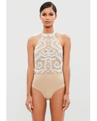 Missguided Natural Peace + Love Nude Embellished Bodysuit