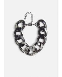 Missguided - Metallic Gunmetal Thick Chain Bracelet - Lyst