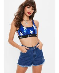 Missguided - Barbie X Blue Logo Sequin Crop Top - Lyst