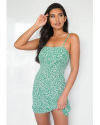 Missguided Green Floral Print Ruched Bust Cami Skater Dress