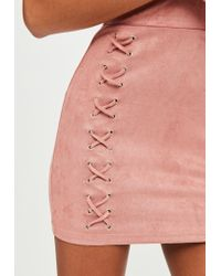 Missguided - Pink Suedette Bodycon Dress - Lyst