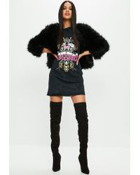 Missguided Black Faded Wash Oversized T Shirt Dress