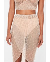Missguided Natural Peace + Love Nude Embellished Sheer Skirt