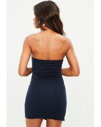Missguided Blue Navy Scuba Bandeau Split Side Mini Dress