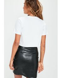 Missguided White Underbust Tattoo Printed T-shirt