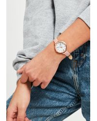 Missguided Pink Analogue Marble Like Dial Watch