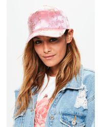 Missguided | Pink Oriental Print Satin Cap | Lyst