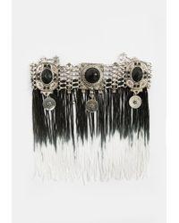 Missguided - Metallic Silver Ombre Tassel Drop Choker Necklace - Lyst