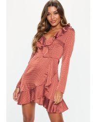 Missguided Brown Polka Dot Satin Tea Dress