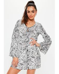 Missguided Gray Grey Snake Print Button Down Skater Dress