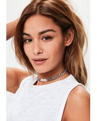 Missguided - Metallic Silver Glitter Choker Necklace - Lyst