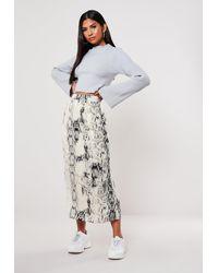 Missguided Gray Grey Snake Print Satin Midi Skirt
