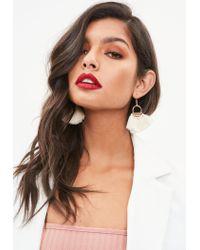 Missguided Natural Cream Hoop Fan Tassel Earrings