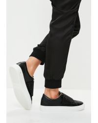 Missguided | Black Sequin Strap Sneakers for Men | Lyst