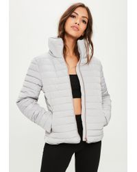 Missguided - Gray Grey Padded Jacket - Lyst