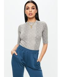 Missguided Gray Snake Print High Neck Fitted Top