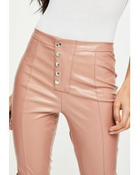 Missguided - Natural Nude Popper Front Faux Leather Pants - Lyst