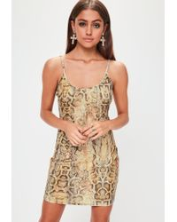 4e8e876d3e Lyst - Missguided Brown Slinky Plunge Snake Print Bodycon Dress in Brown
