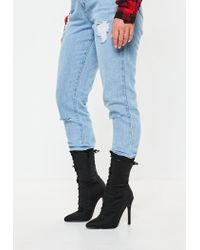 Missguided Black Lycra Lace Up Stilletto Heel Ankle Boots