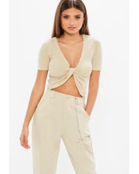 Missguided Natural Tall Nude Knot Front Bodysuit