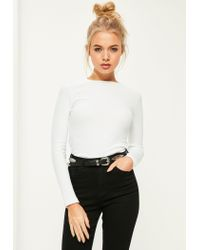 Missguided Multicolor Crew Neck Ribbed Top White