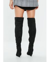 Missguided - Black Pointed Toe Wedge Knee High Boot - Lyst