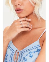 Missguided - Metallic Silver Set Of Rings - Lyst