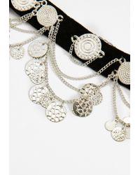 Missguided - Black Coin Detail Velvet Strap Choker Necklace - Lyst