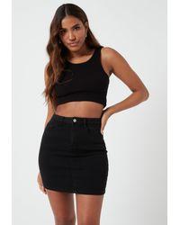 Missguided Black Denim Superstretch Mini Skirt