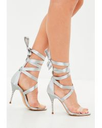 Missguided Gray Satin Wrap Sandals