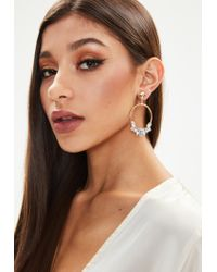 Missguided - Metallic Gold Look Diamante Edge Drop Earring - Lyst