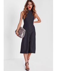 abab05bf7b1 Missguided Navy High Neck Pinstripe Culotte Jumpsuit in Blue - Lyst