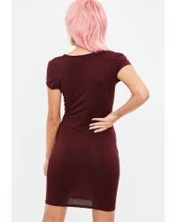 Missguided Multicolor Burgundy Short Cap Sleeve V Neck Bodycon Dress