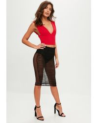 Missguided - Red Plunge Front Scuba Crop Top - Lyst