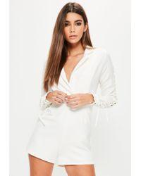 Missguided White Lace Up Sleeve Tuxedo Playsuit