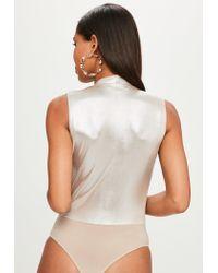 Missguided Silver Metallic Cross Front Bodysuit