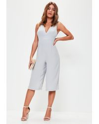 Missguided - Gray Grey Plunge Front Culotte Jumpsuit - Lyst