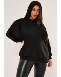 Missguided Size Black Puff Sleeve Sweatshirt
