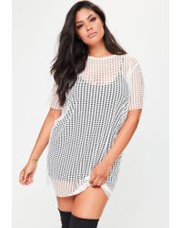 Missguided Plus Size White Fishnet Mesh T-shirt Dress in White - Lyst