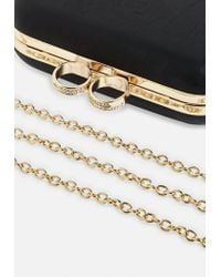 Missguided - Black Ring Detail Box Clutch Bag - Lyst