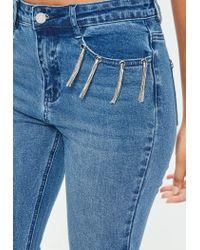Missguided Blue Sinner Highwaisted Tassel Trim Pocket Jeans