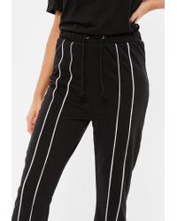 Missguided - Black Drawstring Stripe Tracksuit Jumpsuit - Lyst