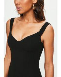 Missguided - Black Bardot Bodycon Dress - Lyst