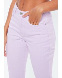 Missguided - Riot Purple High Rise Acid Wash Denim Mom Jeans - Lyst
