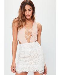Missguided - Premium White Lace Scallop Hem Mini Skirt - Lyst